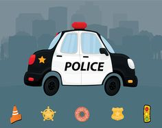 Police Clip Art - Digital File - Cute Police Car Clipart - Cartoon Police Car Clip Art - Police Clipart - Instant Download - Police Car Art