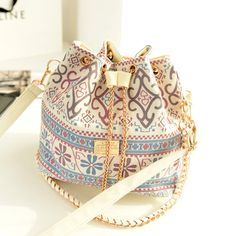 Bohemian Canvas Drawstring Bucket Handbags 2 Colors