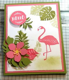 DH pop of flamingo by - Cards and Paper Crafts at Splitcoaststampers Potpourri, Beach Cards, Stamping Up Cards, Bird Cards, Marianne Design, Animal Cards, Flower Cards, Greeting Cards Handmade, Scrapbook Cards