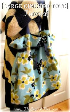 Large Cinched Tote Bag with tutorial