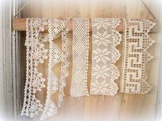lovely vintage crochet trims . hand crocheted trim . crocheted by hand . assorted WIDE trims and edgings . crochet edgings