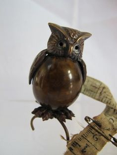 Antique Victorian Novelty Brass & Celluloid Owl Tape Measure; circa 1890
