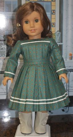 """American Girl Style """"Transcontinental Dress"""" in Teal American Girl Doll Pictures, American Girl Diy, American Doll Clothes, Sewing Doll Clothes, Girl Doll Clothes, Girl Dolls, Girl Fashion, Fashion Dresses, Wrap Front Dress"""