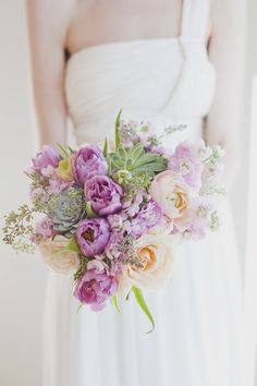 Love the lavender and soft peach colors of this #bouquet | See the full inspiration on Style Me Pretty:  http://www.stylemepretty.com/canada-weddings/ontario/toronto/2012/05/16/toronto-pastel-photo-shoot-by-vicky-starz-photography-sweet-woodruff/  Vicky Starz Photography