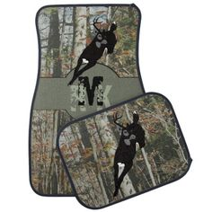Whitetail Deer Hunters Woodland Camo with Monogram Car Mat -- To see more #CarMats from this designer go to http://www.zazzle.com/whimsicalartwork/gifts?cg=196587760928547396&rf=238656250999501047&tc=PinPODShoppers