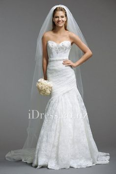 fit and flare beaded lace strapless sweetheart wedding gown  from idress.co.nz