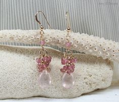 Rose Quartz Earrings Pink Topaz and Mystic Pink by AmyJillDesigns, $45.00
