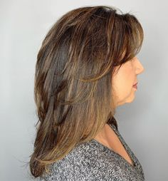 50 Modern Haircuts for Women over 50 with Extra Zing - Longer Cut with Feathered Layers - Medium Fine Hair, Medium Layered Hair, Medium Hair Cuts, Long Hair Cuts, Medium Hair Styles, Curly Hair Styles, Long Layered, Short Cuts, Hair Cuts For Over 50