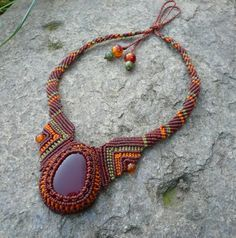 macrame stone necklace tutorial - Google Search