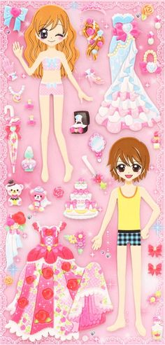Japanese kawaii couple dress up doll puffy sponge stickers 'wedding party' 4