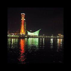 Instagram【insta_sh_gram】さんの写真をピンしています。 《○ ・ ・ ポートタワー🗼 in KOBE ・ ・ #夜景#nightview#kobe#神戸 #ポートタワー#beautiful #instagood#instalike#l4l #igers#follow#fff#insta_sh_gram》