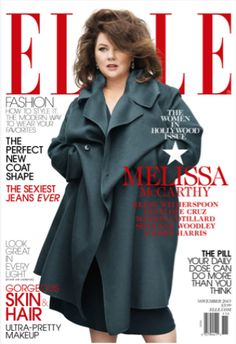 """Magazine Cover: Comedienne Melissa McCarthy's Elle Cover. Slate calls McCarthy the issue's """"token plus-size cover girl""""–ouch."""