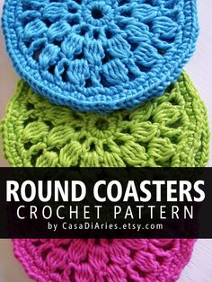 Round coasters crochet pattern >>> Learn how to crochet round coasters with this beginner level step by step guide. It contains instructions on how to crochet round coasters and description of crochet stitches used for the project.