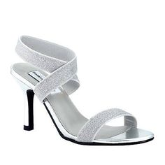 Silver Gold Glitter Formal Prom Bridal Strappy High Heel Woman's Sandal Shoe