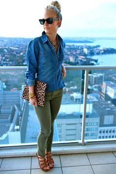 Green jeans + leopard clutch+ denim shirt