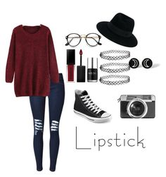 """Fall Beauty: Red Lipstick"" by littlerose03 on Polyvore featuring beauty, Converse, Smashbox, Maison Michel, Casetify and Nails Inc."