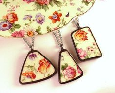 Matching Broken Plate Necklaces vintage English chintz Recycled China Broken China Jewelry via Etsy