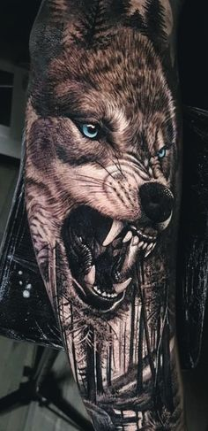 50 Of The Most Beautiful Wolf Tattoo Designs The Internet Has Ever Seen - KickAss Things Animal Sleeve Tattoo, Lion Tattoo Sleeves, Best Sleeve Tattoos, Tattoo Sleeve Designs, Animal Tattoos, Tattoo Designs Men, Wolf Tattoo Design, Wolf Tattoos Men, Tattoos For Guys