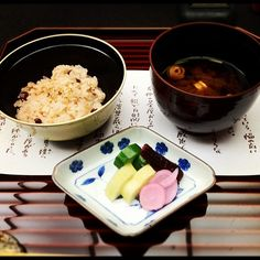 Traditional Japanese meal brought in courses #8:Festive red rice and Miso Soup 食事