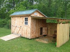 Goat house, barn with open-air loafing area. I like this because it blocks a lot of wind from entering the shelter in the winter Goat Shelter, Rain Shelter, Sheep Shelter, The Farm, Mini Farm, Goat Shed, Goat Barn, Raising Goats, Barns Sheds