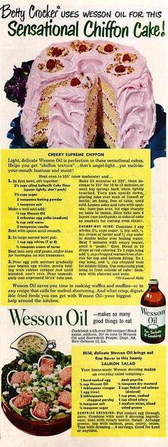 "Cherry Supreme Chiffon Cake Recipe from ""The Ladies' Home Journal""   February 1950"