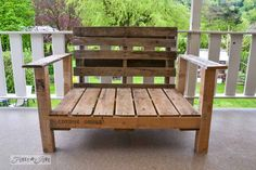 Wood pallet patio ideas pallet wood patio chair build via funky junk interiors wooden pallet diy ideas Pallet Chair, Pallet Patio, Pallet Furniture, Painted Furniture, Outdoor Furniture, Chest Furniture, Furniture Showroom, Furniture Logo, Distressed Furniture