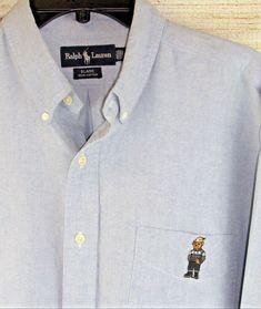 ca45e6b0f Ralph Lauren Polo mens Dress Shirt Blake Ski Mountaineer Bear Big XL 59