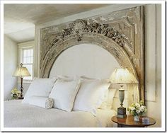 Architectural Salvaged Mantle Turned Patina Headboard