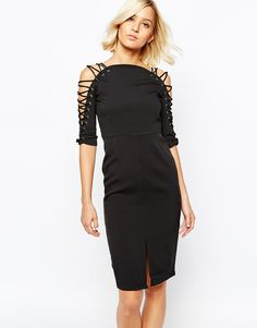Lavish Alice Pencil Dress with Lace Up Detail and Front Split
