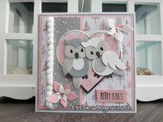 Diy Cards, Christmas Cards, Marianne Design Cards, Owl Card, Wedding Cards Handmade, Cricut Cards, Animal Cards, Homemade Cards, Cardmaking