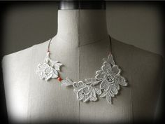 Ivory Floral Lace and Coral Beads Necklace by TopiaryDesigns, $30.00