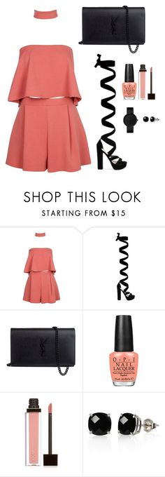"""Untitled #304"" by hayleyl22 ❤ liked on Polyvore featuring Boohoo, Yves Saint Laurent, OPI, Jouer and Belk & Co."