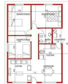 one floor 3 bedrooms Bungalow Floor Plans, Small House Floor Plans, Simple House Plans, My House Plans, Duplex House Plans, Modern House Plans, House Layout Plans, House Layouts, Plan Hotel