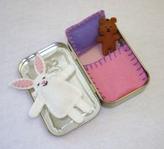 custom Wee Bunny in Altoids Tin House with pink bedding by EarthyMamaGoods