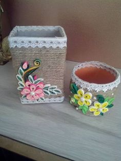 Quilling on cups Quilling Work, Quilling Paper Craft, Quilling Flowers, Quilling Patterns, Quilling Designs, Tin Can Crafts, Diy And Crafts, Paper Quilling Tutorial, Diy Y Manualidades
