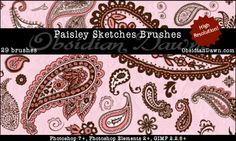 Obsidian Dawn Photoshop & GIMP Brushes - Paisley Sketches (various original paisley designs, all high resolution)