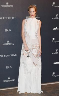 Poppy Delevingne in Roberto Cavalli at Vogue Italia 50th Anniversary red carpet