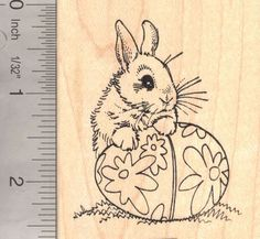 Bunny Rabbit with Easter Egg Rubber Stamp * Check this awesome product by going to the link at the image.