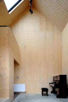 London architects Haworth Tompkins found an ingenious way to to honor history–by building a new music studio inside the ruins of a tiny dovecote on the Suf Contemporary Apartment, Contemporary Architecture, Interior Architecture, Interior And Exterior, Interior Design, Studio Interior, Plywood Interior, Concrete Interiors, Old Buildings