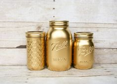 Well hello Christmas decor! Painted Mason Jars - Gold Jars- Wedding Centerpiece - Home Decor  - Office Organizer  - Rustic Centerpieces - Flower Vases - gift idea - Holiday decorations