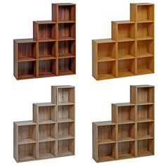 Set Of Stylish Easily Assembled Wooden Cube Bookcase Shelves Ideal For Storage