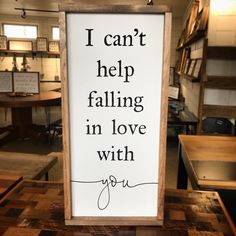 I Can't Help Falling in Love with You Framed Wood Sign, Song Lyrics Home Decor, Farmhouse Style Love Quote Sign, Wall Hanging, Anniversary by 4Lovecustomgifts on Etsy https://www.etsy.com/listing/590466798/i-cant-help-falling-in-love-with-you