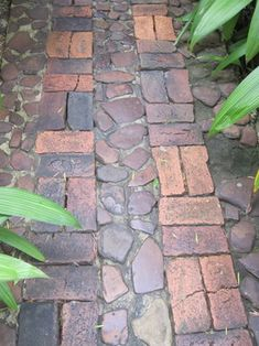 Small stones and bricks are combined in this vintage garden path. Demolition sites are a good place to find paving materials with character.