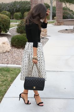 midi skirt and strappy heels