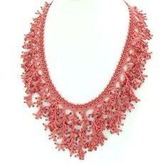Fringe Necklace, Red Coral Necklace,  Beadwork Necklace,  New Year, Statement Necklace,. $65.00, via Etsy.