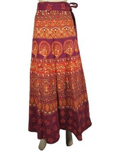 Womens Cotton Wrap Around Skirt Hippie Boho Purple Orange Sarang Floral Print Fashionable Wrap Skirts Mogul Interior, http://www.amazon.com/dp/B009SIXLBK/ref=cm_sw_r_pi_dp_G1gGqb01TZ7NW