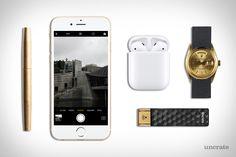 Apple AirPods ($159). SanDisk 128GB Wireless Flash Drive ($70). 1972 Rolex YG Day-Date Watch ($5,850). Nato Watch Strap ($20). Tanner Goods Memori Pen ($65)....