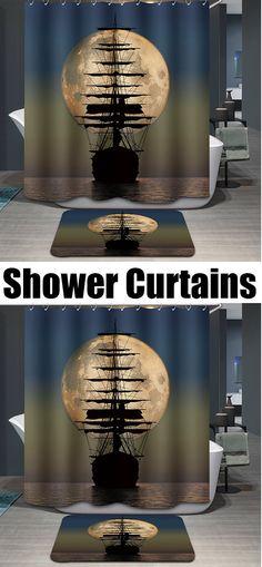 $7.89 Hot Sale Moon Sailing Pattern Printing Waterproof Shower Curtain