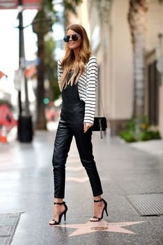344d0ca56ca3 ecstasymodels  Walk Of Fame Nette Nestea Leather Overalls, Leather Pants,  Black Dungarees,