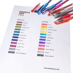 DoodleArtPro gel pens sets have 24 unique metallic & glitter colors and shape suitable for everyday use.